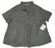 Flax Womens Linen Button Up Short Sleeve Shirt Jacket Size 3g 24-26 Taupe Nwt