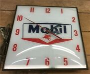Mobil Oil Pegasus Lighted Pam Clock, Vintage Advertising Sign, Bubble Glass,