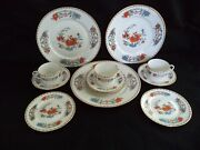 Limoges China 3 Place Settings 4pc Plates Cup Raynaud Vieux Chine Orange Poppies
