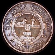 South Africa 1896 2 Shillings Old World Silver Coin High Grade Nice Toning