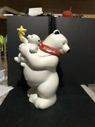 Coca Cola Cookie Jar With Polar Bear And Cub With Yellow Star No Box