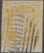 Stamp Nsw 8d Yellow Queen Diadem 1853 Reprint With Reproduced Postmark Miscut