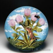Clinton Smith 2021 Field Mouse With Thistle And Bee Glass Art Paperweight