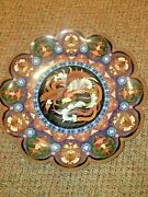 Beautiful Silver And Copper Wire Japanese Cloisonne Enamel 18 Lobbed Charger