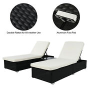 3pcs Furniture 2 Flat Bed 1 Table Patio Deck Poolside W/removable Cushion Covers