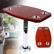 Boat Table Varnished Removable Marine Table With 4 Cup Holders +pedestal Base Us