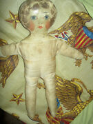 Darling Antique Primitive Cloth Doll With Fine Oil Painted Face Replaced Dress