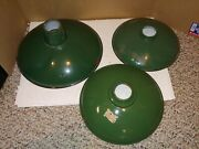 3 Vintage 40's/50's Green Porcelain Lampshades Lamp Shades,reflector,industrial