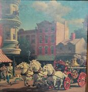 Mcm Turner Wall Accessory Picture Horses Steam Fire Engine Framed 14.75x14.25