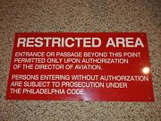 Vintage 70and039s/80and039s Tin Metal Restricted Areaphiladelphia Airport Signaviation