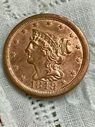 1849 1/2c Braided Hair Rb Half Cent Coin Large Date 1/2c Bu+ Red Make Offer