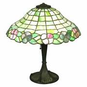 Antique Arts And Crafts Williamson School Floral Leaded Glass Table Lamp C 1920