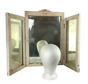Antique Vintage 1800s Heavy Trifold Vanity Tabletop Mirror Wood Frame 35 X 23