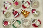 Lot Vtg Mercury Glass Double Indent Ball Bell Christmas Ornaments Shiny Brite
