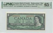 1954 1 Bank Of Canada A/m Replacement Star Bc-37ba-i Pmg Ch65 Epq