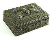 =antique Sterling Silver Filigree And Stones Box Balinese For Jewelry Trinkets