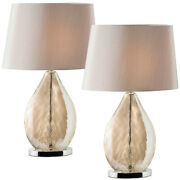 2 Pack Table Lamp And Shade Gold Tinted Glass And Mink Fabric Pretty Bedside Light