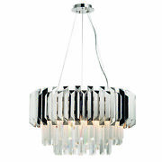 Ceiling Pendant Light Clear Crystal And Polished Stainless Steel 6 X 40w E14