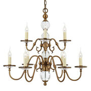 Flemish Ceiling Pendant Chandelier Antique Brass And Crystal Curved 9 Lamp Light