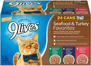 9 Lives Seafood And Turkey Favorites Wet Cat Food Variety Pack 5.5 Oz 24 Count