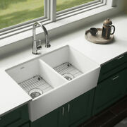 Elkay Swuf32189whfc Fireclay Double Bowl Farmhouse Sink Kit With Faucet 33.