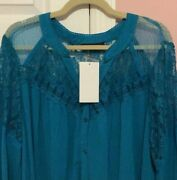 Roamanand039s Gorgeous Blue And Lace Blouse Size 24 W New With Tags