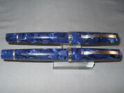 Omas Vintage Blue Marble Fountain Pen And Rollerball Pen In Leather Case