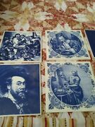 Collection Of 11 Deft Blue Hand Painted Tiles Made In Holland