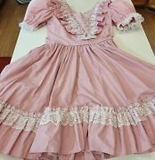 Vintage Square Dance Dress, Pink Ruffles Lace, 14 M Farmhouse Made In Kentucky