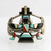 Zuni Knife-wing Haute Qualitandeacute Grand Manchette Bracelet - Argent And Inlay Gary