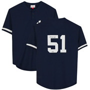 Bernie Williams New York Yankees Signed Blue Bp Mitchell And Ness Replica Jersey