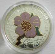 Cook Islands 5 Dollars 2012 Flowers Cherry Blossom Silver