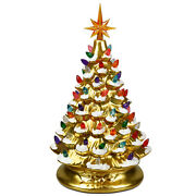 Hand-painted Ceramic Tabletop Christmas Tree 15 Prelit Battery Powered Gold