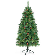 Hinged Pe Artificial Christmas Tree 6ft Pre-lit W/ 250 Led Lights And Pine Cones