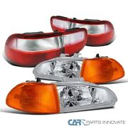 For 92-95 Civic 4dr Clear Headlights+amber Corner Lamps+red/clear Tail Lights