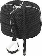 Novelbee 1/2 X 200and039 Black 3 Strand Twisted Nylon Anchor Line With White Thimble