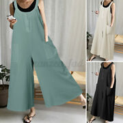 Womens Summer Holiday Jumpsuit Baggy Casual Wide Leg Playsuit Overalls Plus Size