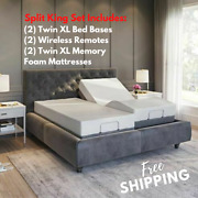 Split King Adjustable Bed Base With Massage Wireless Remote And 14 Mattress Usb