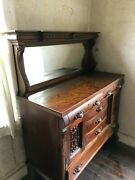 Antique Highboy Dresser With Mirror 6 Drawers And 2 Closeted Shelves