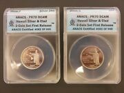 2008-s Hawaii Silver And Clad 2-coin Set First Release Anacs Pr70 Dcam 063
