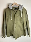 Molokai Surf Company Mens Hooded Button Up Jacket Size M Army Green