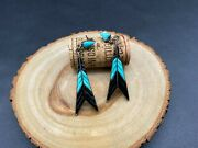 Vintage Zuni Indian Turquoise Arrow Feather Sterling Silver Dangle Earrings
