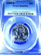 1998 D Quarter Ms65pl Pop 4/1 Only 1 Graded Higher In Clad Type Ii Pcgs Gs Pq+