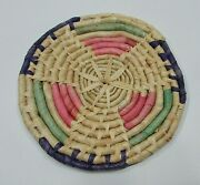 Vintage 1980's 7 Dia Braided Straw Grass Round Woven Trivet Hot Pad Free S/h