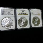 Lot Of 3 Different Date Silver Eagles Ngc Ms70, 2012 Early Release, 2013, 2020