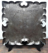 Early Mughal Iron And Silver Damascene Lotus Shaped Serving Tray
