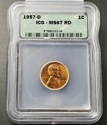 1957 D Lincoln Wheat Cent Penny Coin Icg Ms67 Red Rd Vintage Green Holder