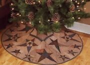 Primitive Star Patchwork Quilted Christmas Tree Skirt 58 Diameter Tea Dyed