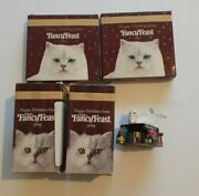 5 Vintage Fancy Feast Cat Kitty Christmas Ornaments 1994, 19962 And 19972