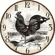 Meistar Wooden Simple Wall Clock12 Inch Black Rooster Pattern Antique Vintage D